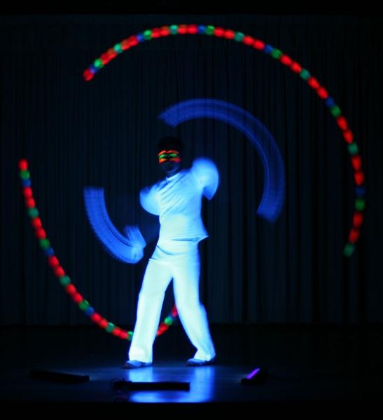 Alain UV Glow Poi spinning