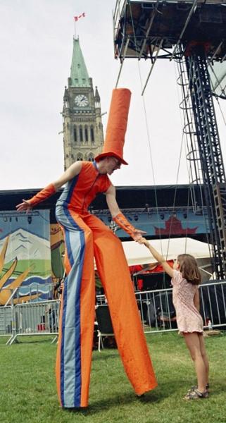 Alain Stilt-Walking on Canada Day